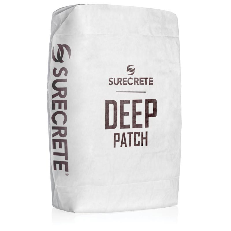 Deep Patch™ is solid concrete repair product for patching large holes in concrete surfaces. SureCrete's solid cement filler