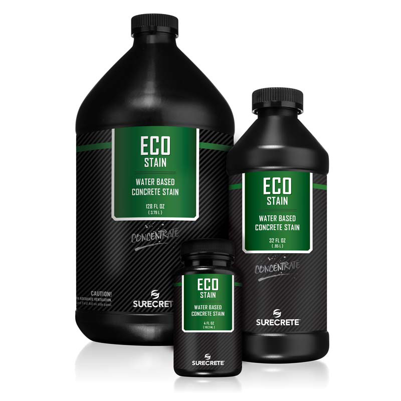 Eco-Stain™ is a liquid semi-transparent water-based concrete stain for accent coloring that can be sprayed, brushed rolled or even sponged. Used for staining concrete floors and walls including overlays and cast concrete products