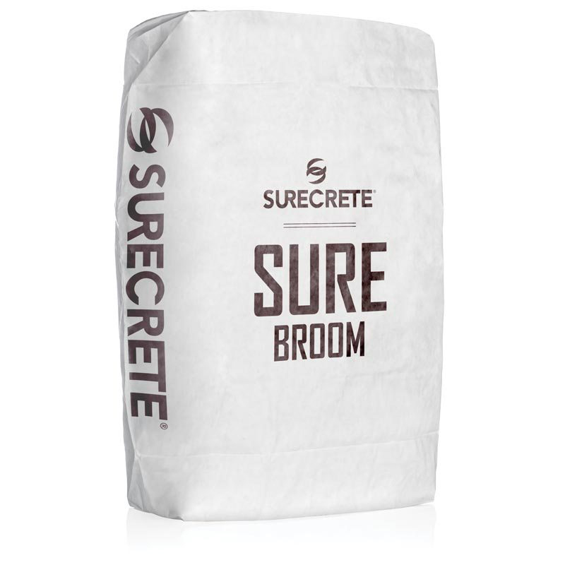 SureBroom is a concrete broom overlay mix that comes in a gray or white mix. Patio or driveway concrete overlay