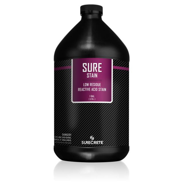 SureStain™ is a low residue concrete acid stain that comes in 8 earth-tone colors