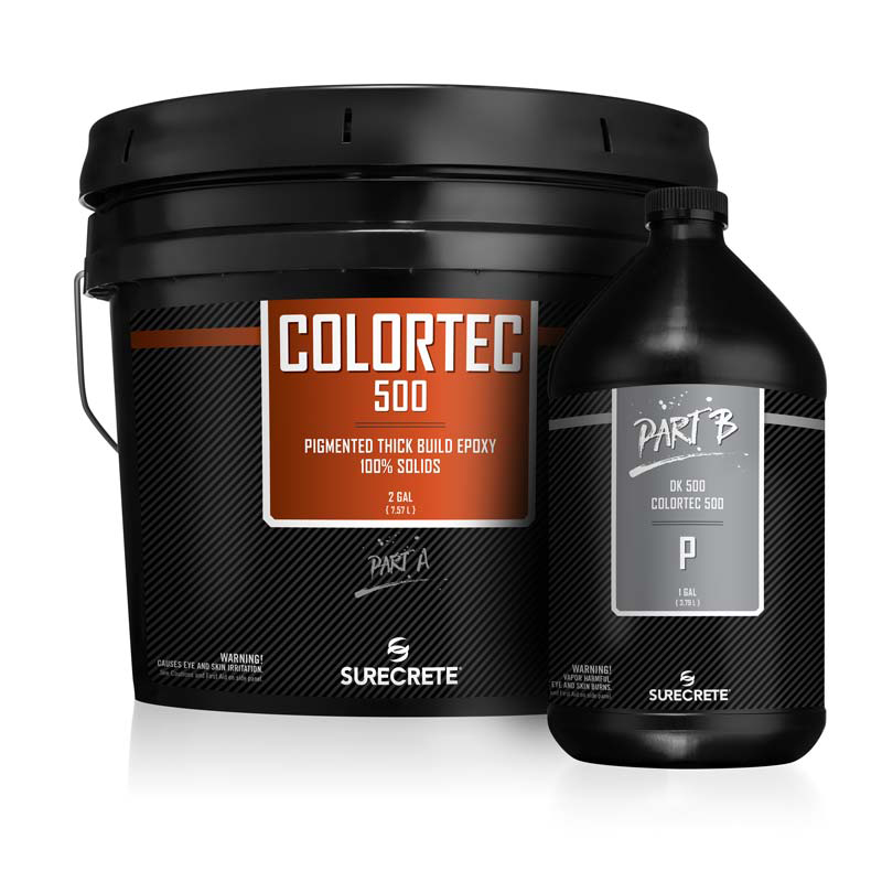 ColorTec500™ premium color epoxy 100% for floors is available in three and fifteen-gallon kits.