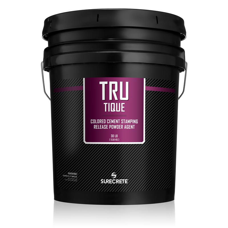 TruTique™ stamped concrete powder release contains a specially formulated releasing agent that forms a moisture barrier between the stamping tools and wet concrete