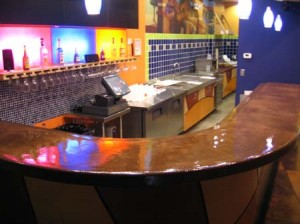large concrete bar top